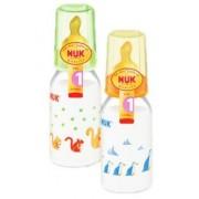 NUK Нук Бутылочка пластиковая с ортодонтической антиколиковой соской из латекса размер 1 110 мл.