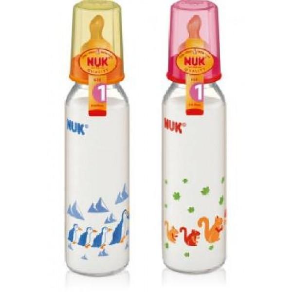 NUK Нук Бутылочка стеклянная с ортодонтической антиколиковой соской из латекса размер 1 230 мл.