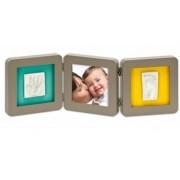 BABY ART Рамочка тройная (серая) подложка бирюзовая/желтая