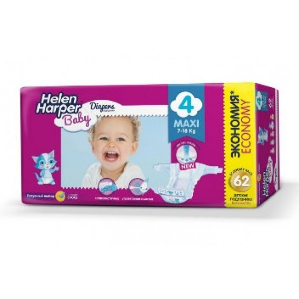 Helen Harper Baby Подгузники maxi (7-18 кг) 62 шт