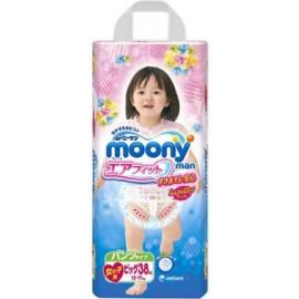 Японские подгузники-трусики Moony для девочек XL (12-17 кг) 38 шт