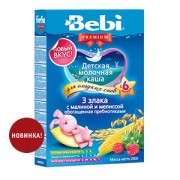Bebi Premium Каша молочная 3 злака с малиной и мелиссой