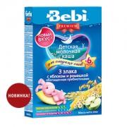 Bebi Premium Каша молочная 3 злака с яблоком и ромашкой