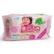 iPLUS Влажные салфетки для рук и лица с экстрактом зеленого чая 99,9% воды 80 шт