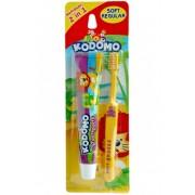 KODOMO Детская зубная паста со вкусом фруктов + щетка 6+ мес