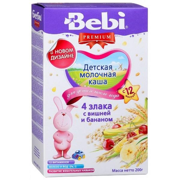 Bebi Premium Каша молочная 4 злака с вишней и бананом с 12 мес 200г