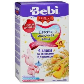 Bebi Premium Каша молочная 4 злака со сливками и персиком с 12 мес 200г