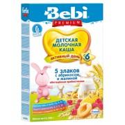 Bebi Premium Каша молочная 5 злаков с абрикосом и малиной, обогащенная пребиотиками с 6 мес, 200 гр.