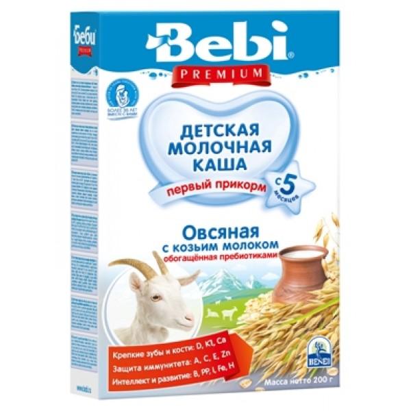 Bebi Premium Овсяная с козьим молоком, обогащенная пребиотиками с 5 мес. 200 гр