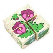 ТОМИК Кубики сложи рисунок: Цветочки 4 шт