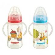 Happy Baby Бутылочка Milky Stories с антиколиковой системой с ручками 0+ мес 240мл с 2 силиконовыми