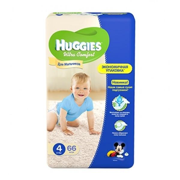 Подгузники Huggies Ultra Comfort для мальчиков 4 (8-14 кг) 66 шт