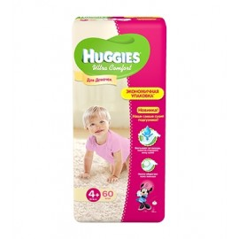 Подгузники Huggies Ultra Comfort для девочек 4+ (10-16 кг) 60 шт