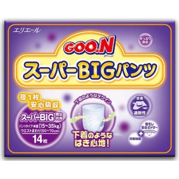 Японские трусики Goon ночные Super Big (15-35 кг) 14 шт