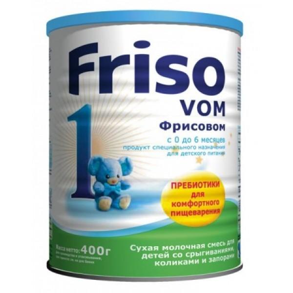Friso Молочная смесь Фрисовом 1 с пребиотиками при срыгиваниях, коликах, запорах 0-6 мес 400г