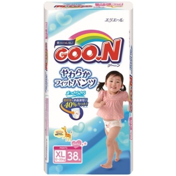 Японские трусики  Goon для девочек XL (12-20 кг) 38 шт