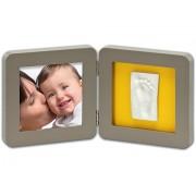 BABY ART Рамочка двойная (серая) подложка желтая/бирюзовая