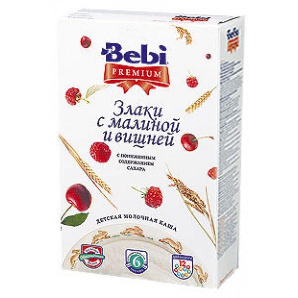 Bebi Premium Каша молочная Злаки с малиной и вишней с 6 мес 200г