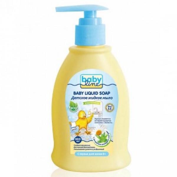 BABYLINE Детское жидкое мыло с экстрактами ромашки и алое вера с дозатором 0+ мес 500 мл