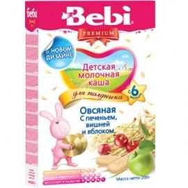 Bebi Premium Каша молочная Овсяная для полдника с печеньем, вишней и яблоком с 6 мес 200г