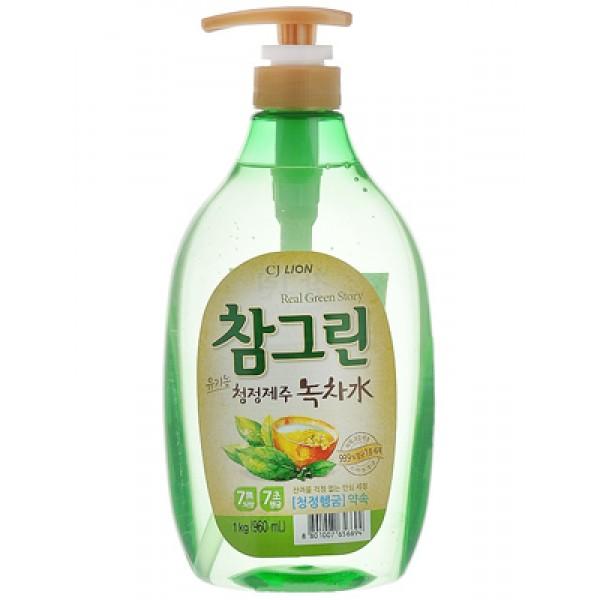 CJ Lion Средство для мытья посуды, овощей и фруктов Chamgreen Зеленый чай 960 мл c дозатором