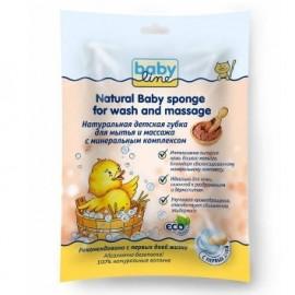 BABYLINE Натуральная детская губка для мытья и массажа с минеральным комплексом