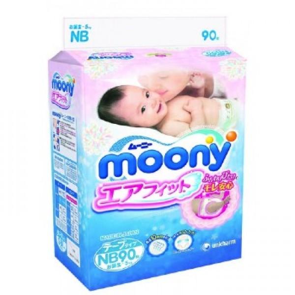 Японские Подгузники Moony для новорожденных (0-5 кг) 90 шт